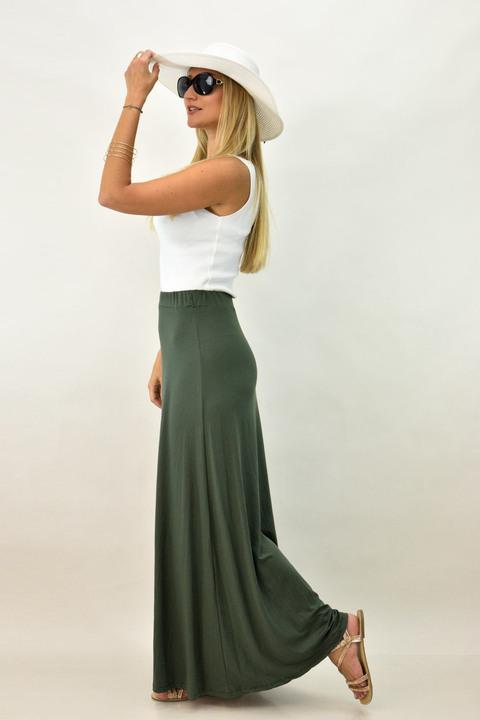 Γυναικεία φούστα μάξι μονόχρωμη σε μεγάλα μεγέθη - Λαδί