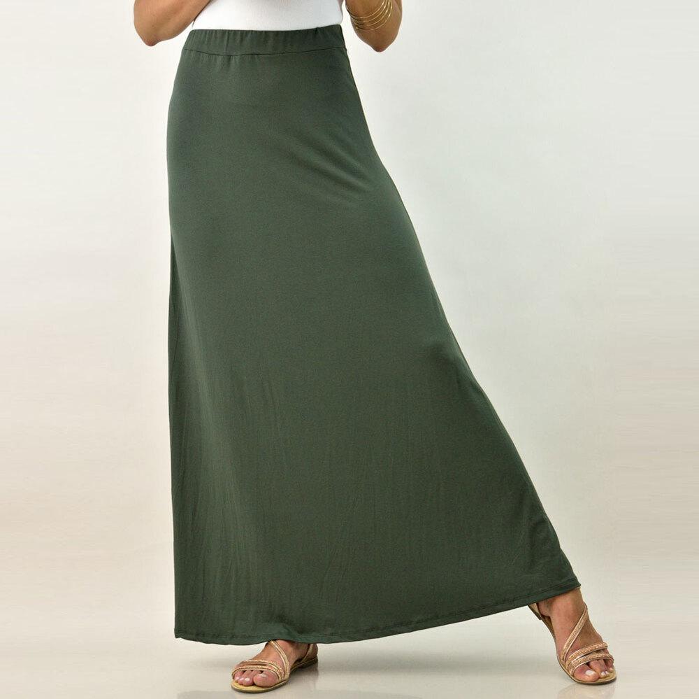 Γυναικεία φούστα μάξι μονόχρωμη σε μεγάλα μεγέθη