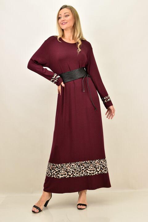 Γυναικείο φόρεμα με animal print λεπτομέρειες και σε μεγάλα μεγέθη - Μπορντώ