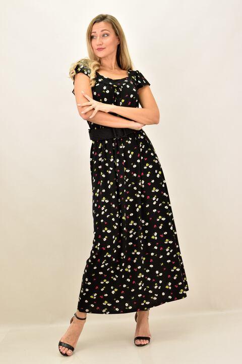 Γυναικείο φόρεμα με σχέδιο λουλούδια και σε μεγάλα μεγέθη - Μαύρο