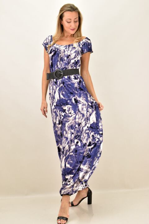 Γυναικείο φόρεμα εμπριμέ και  σε μεγάλα μεγέθη - Μωβ