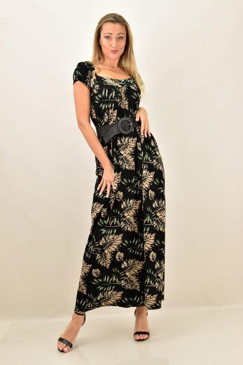 Γυναικείο φόρεμα με σχέδιο και σε μεγάλα μεγέθη - Μαύρο