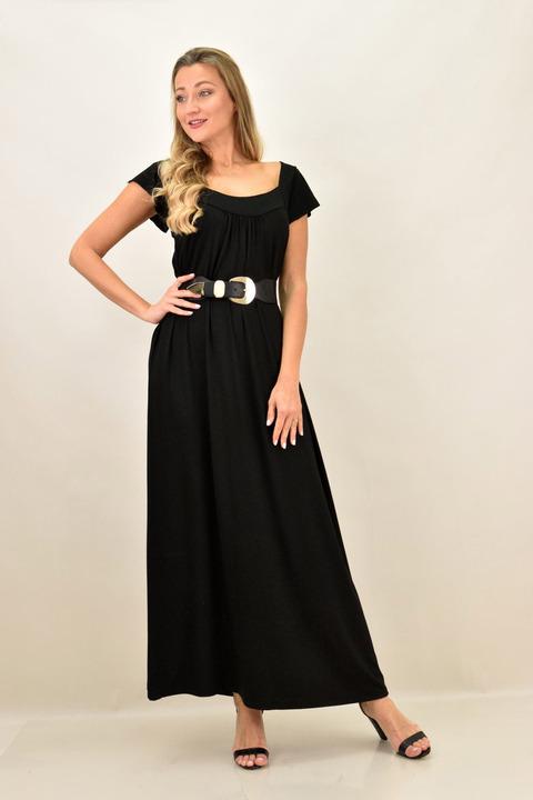 Γυναικείο φόρεμα μονόχρωμο και σε μεγάλα μεγέθη - Μαύρο