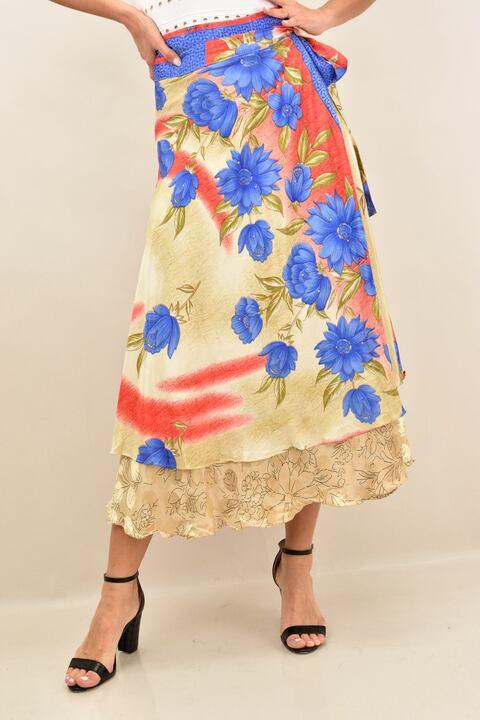 φούστα μεταξωτή διπλής όψεως boho - Μπέζ