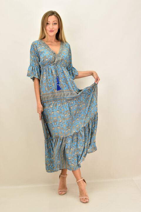 Γυναικείο φόρεμα boho μεταξωτό μακρύ - Γαλάζιο