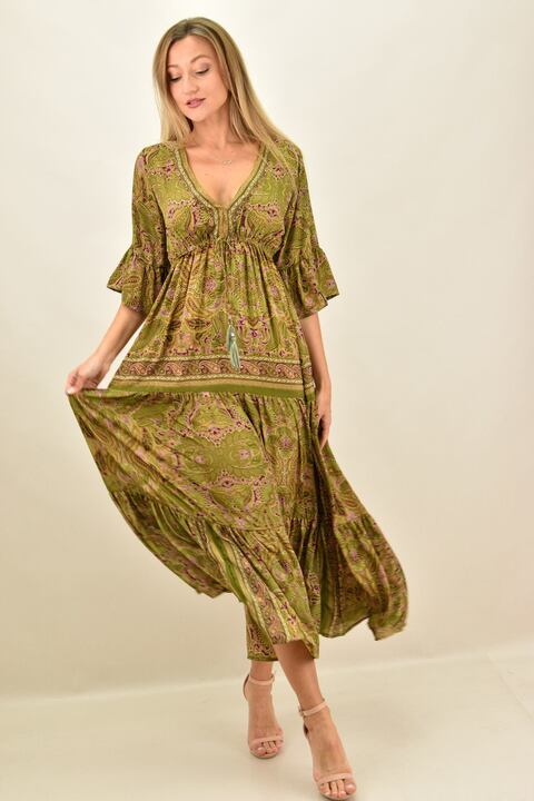 Γυναικείο φόρεμα boho μεταξωτό μακρύ - Πράσινο