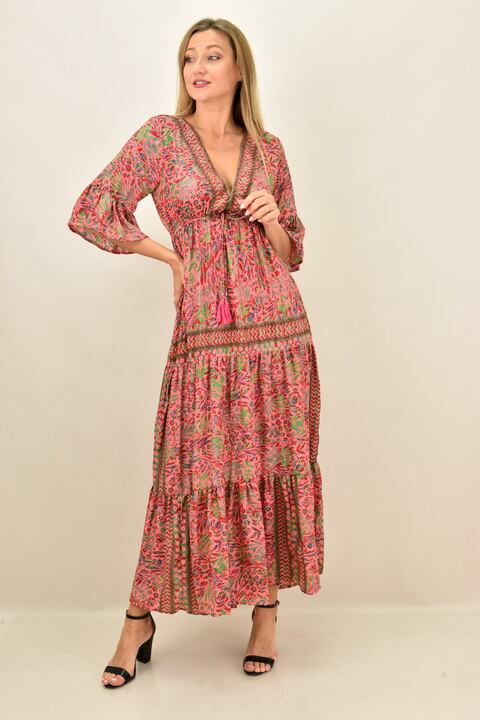 Γυναικείο φόρεμα boho μεταξωτό  μακρύ - Ροζ