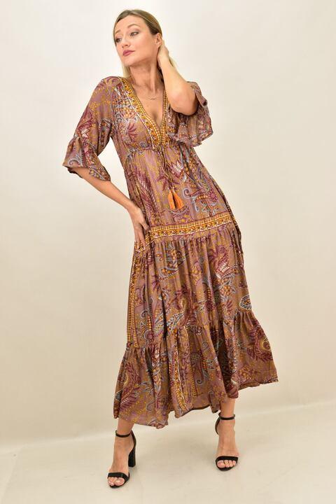 Γυναικείο φόρεμα boho μεταξωτό  μακρύ - Σάπιο μήλο
