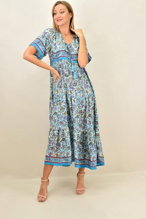 Γυναικείο μεταξωτό boho μακρύ φόρεμα - Γαλάζιο