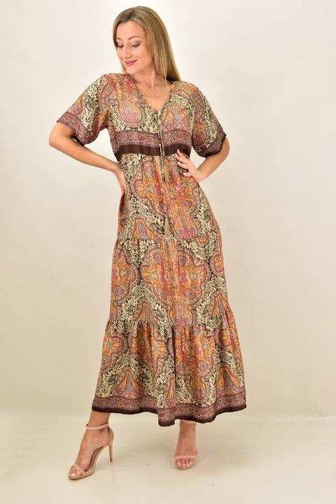 Γυναικείο boho μακρύ  μεταξωτό φόρεμα - Καφέ