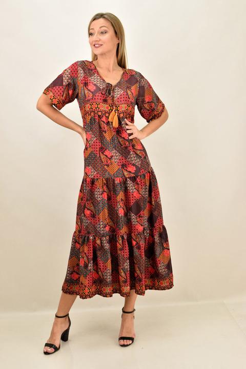 Γυναικείο boho μακρύ μεταξωτό φόρεμα - Κόκκινο