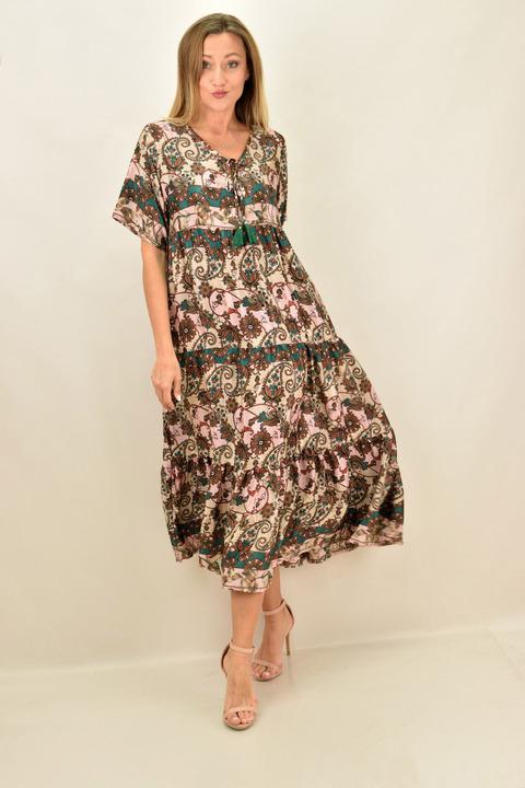 Γυναικείο boho μακρύ μεταξωτό φόρεμα - Μπεζ