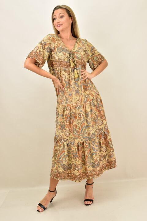 Γυναικείο boho μεταξωτό μακρύ φόρεμα - Μπεζ