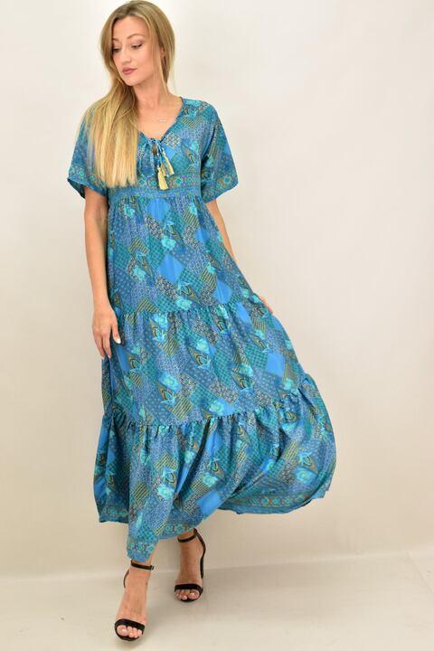 Γυναικείο  μεταξωτό boho μακρύ φόρεμα - Μπλε