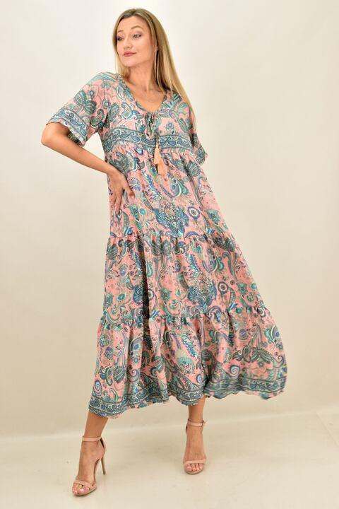 Γυναικείο  μεταξωτό boho μακρύ φόρεμα - Ροζ