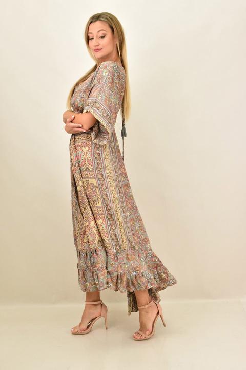 Γυναικείο boho  μεταξωτό φόρεμα εξώπλατο - Μπεζ