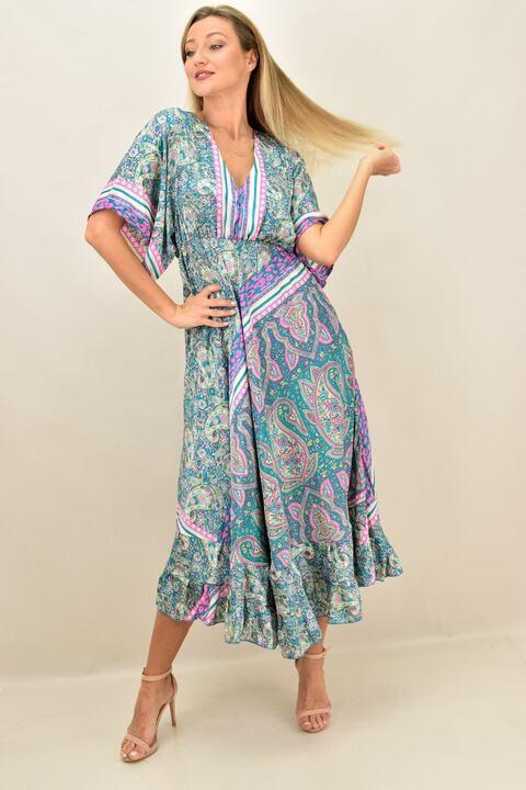 Γυναικείο boho  μεταξωτό φόρεμα εξώπλατο - Πράσινο
