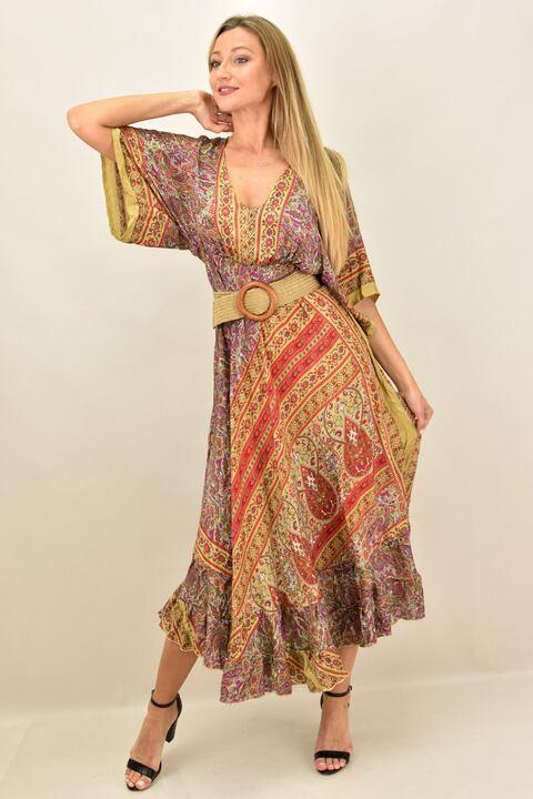 Γυναικείο boho μεταξωτό  φόρεμα εξώπλατο - Καφέ