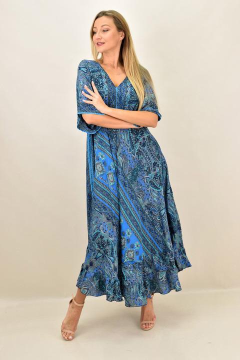 Γυναικείο μεταξωτό boho φόρεμα εξώπλατο - Μπλε