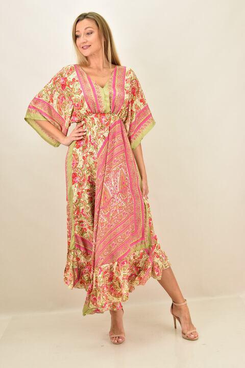 Γυναικείο boho μεταξωτό φόρεμα εξώπλατο - Ροζ