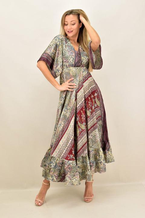 Γυναικείο μεταξωτό boho φόρεμα εξώπλατο - Μπορντώ