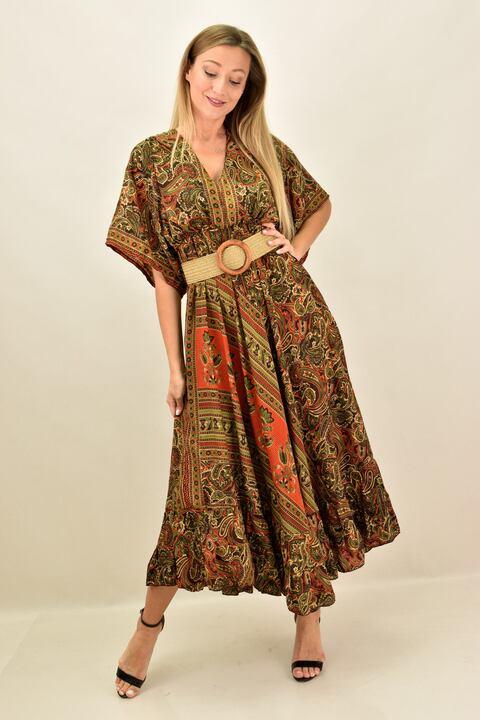 Γυναικείο μεταξωτό boho φόρεμα εξώπλατο - Καφέ