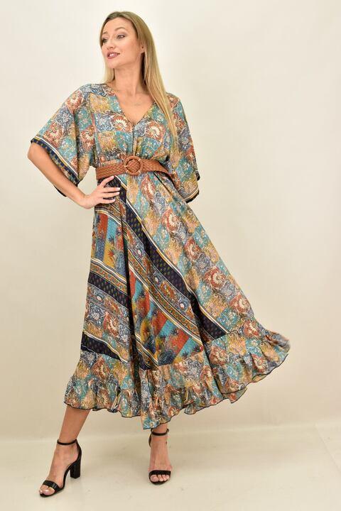 Γυναικείο μεταξωτό boho φόρεμα εξώπλατο - Γαλάζιο