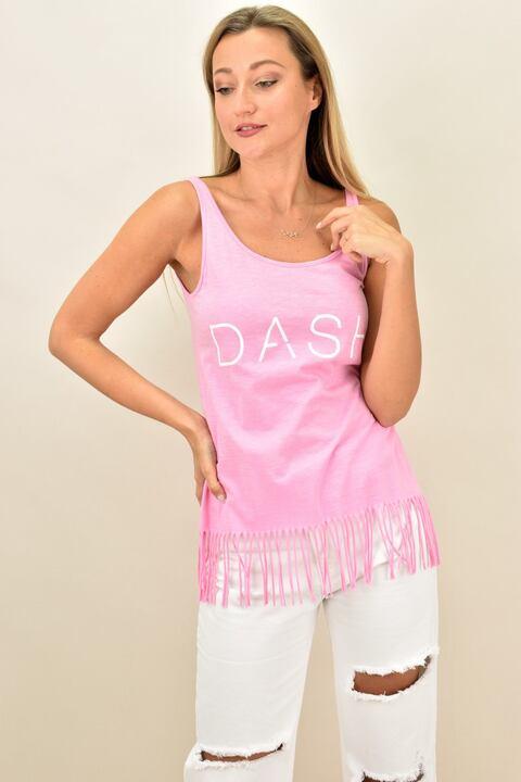 Γυναικείο μπλουζάκι με κρόσια στο τελείωμα  - Ρόζ