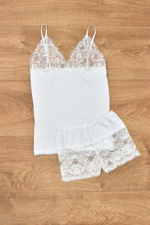 Γυναικείο σετ εσώρουχα με διαφάνεια - Λευκό