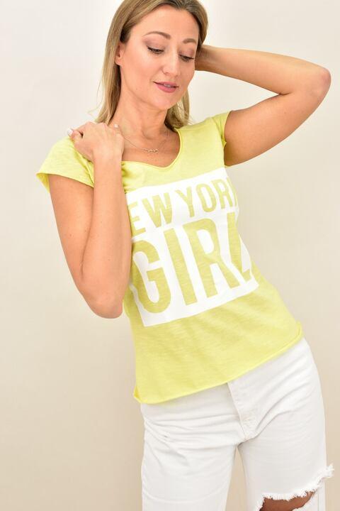 Γυναικεία μπλούζα με τύπωμα new york girl - Κίτρινο