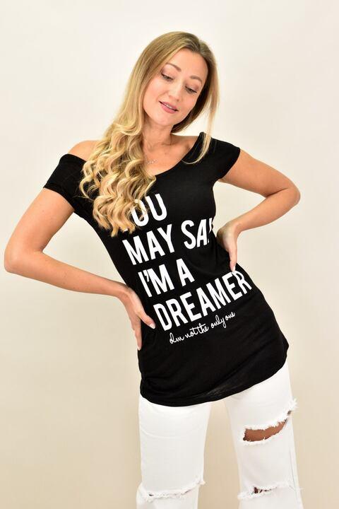 Γυναικεία μπλούζα με τύπωμα - Μαύρο