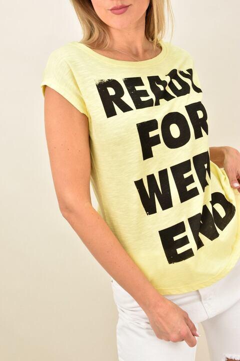 Γυναικεία μπλούζα με τύπωμα - Κίτρινο
