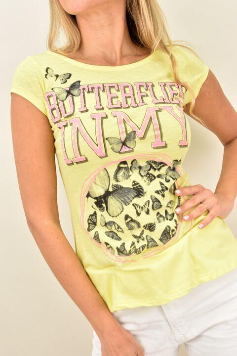 Γυναικεία μπλούζα με τύπωμα και φερμουάρ στο πίσω μέρος! - Κίτρινο