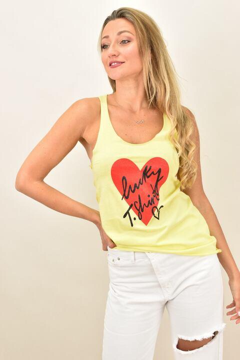 Γυναικείο μπλουζάκι αθλητικό με τύπωμα - Κίτρινο