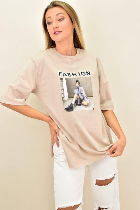 """Γυναικεία oversized μπλούζα """"FASHION"""" - Μπεζ"""