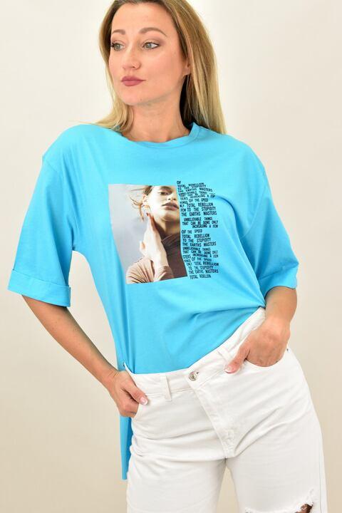 """Γυναικεία μπλούζα με τύπωμα """"κοπέλα"""" oversized - Γαλάζιο"""