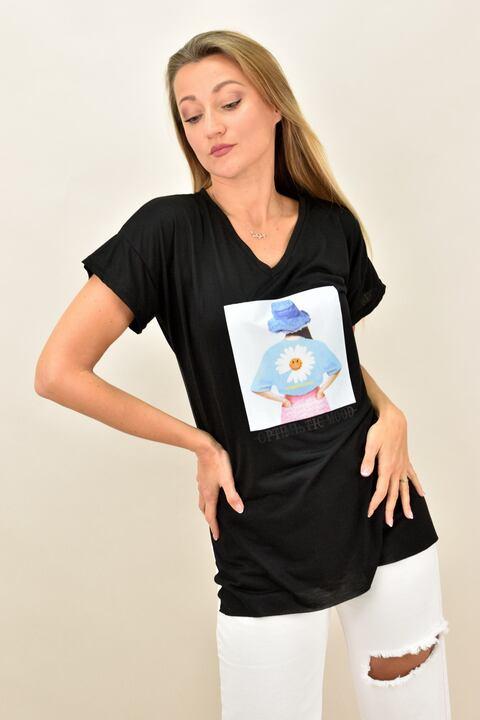 """Γυναικεία μπλούζα με τύπωμα """"optimistic mood"""" - Μαύρο"""