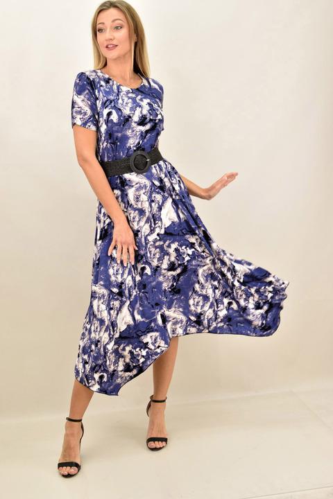 Γυναικέιο φόρεμα εμπριμέ με μύτες - Μωβ