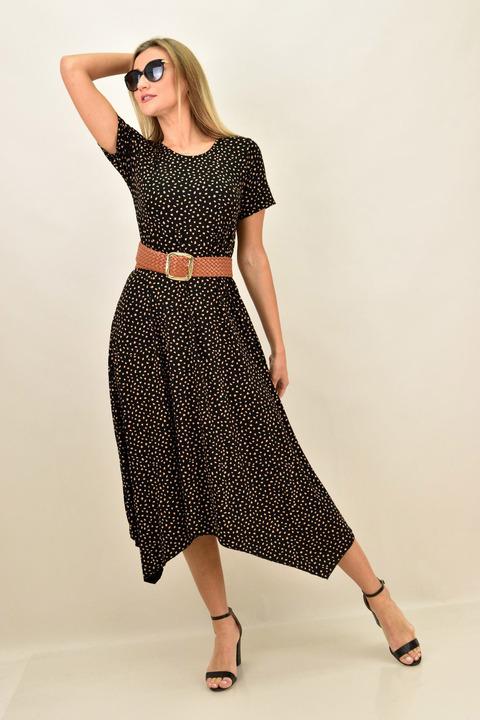 Γυναικέιο φόρεμα πουά με μύτες και σε μεγάλα μεγέθη - Μαύρο