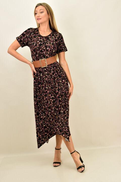 Γυναικείο φόρεμα φλοράλ με μύτες και σε μεγάλα μεγέθη - Μπορντώ