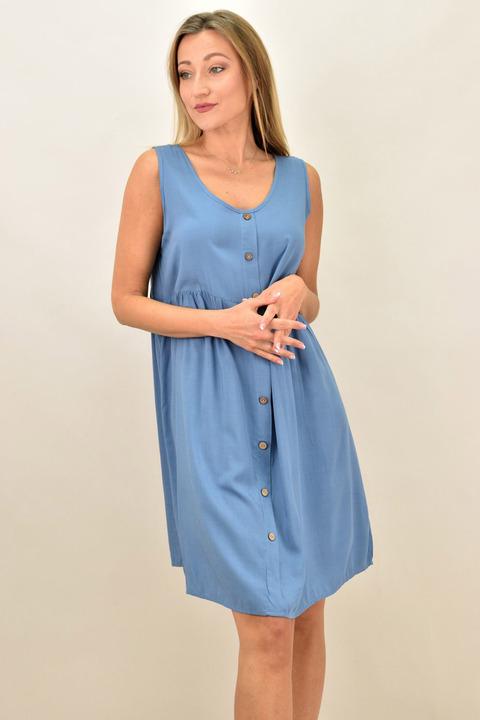 Γυναικείο αμάνικο φόρεμα με διακοσμητικά κουμπιά και σε μεγέθη - Μπλε