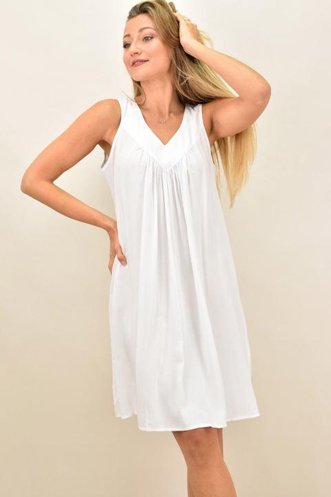Γυναικείο  αμάνικο φόρεμα και σε μεγάλα μεγέθη - Λευκό