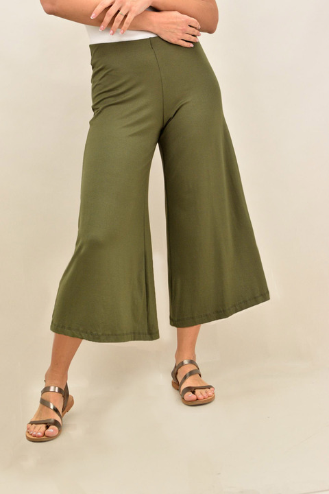 Γυναικεία παντελόνα zip-cullote σε μεγάλα μεγέθη - Λαδί