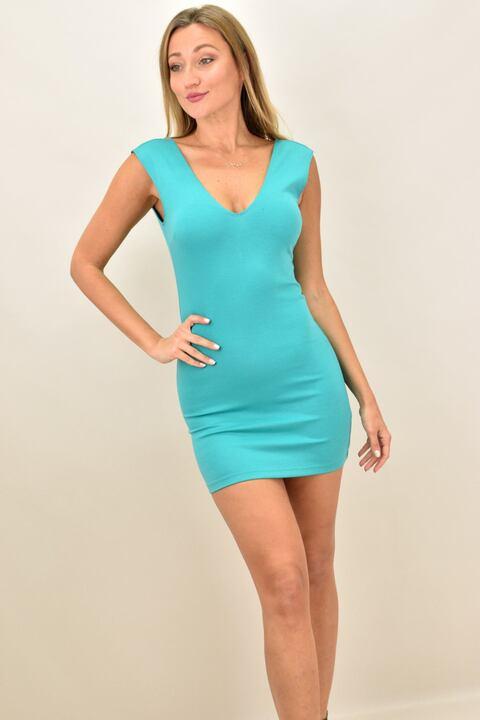 Γυναικείο κοντό εφαρμοστό φόρεμα - Βεραμάν