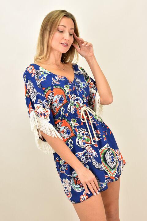 Γυναικείο φόρεμα με κρόσια στο μανίκι - Μπλε