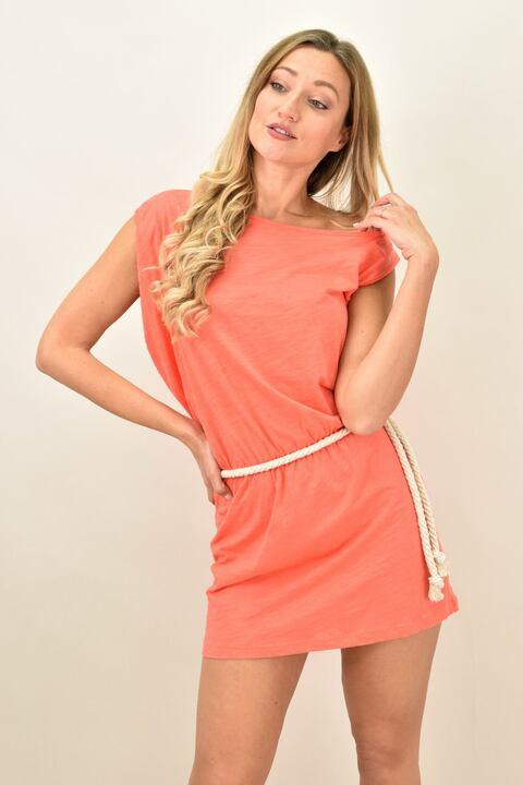 Γυναικείο αμάνικο κοντό φόρεμα με ζώνη - Κοραλί
