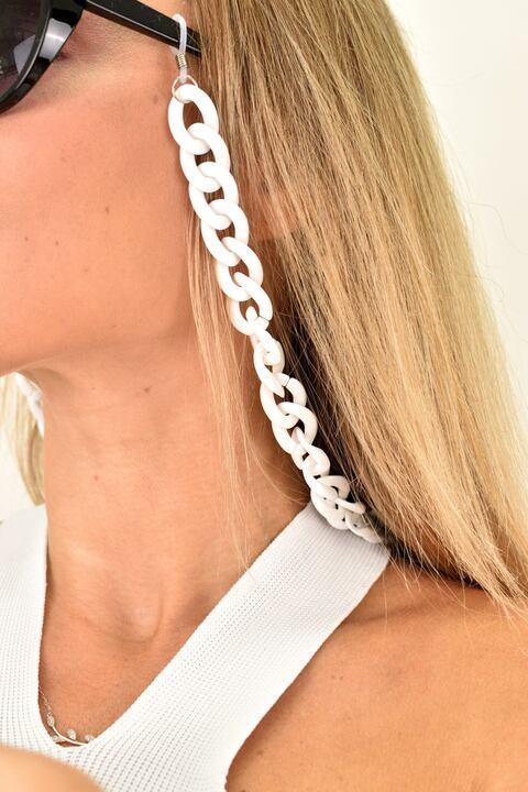 Γυναικεία αλυσίδα γυαλιών - Λευκό