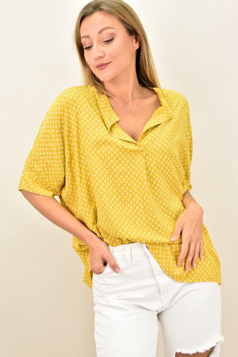 Γυναικεία μπλούζα με όμορφο μοτίβο - Κίτρινο