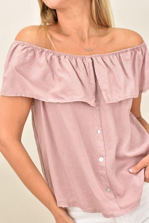 Γυναικεία μπλούζα με βολάν - Απαλό Ροζ