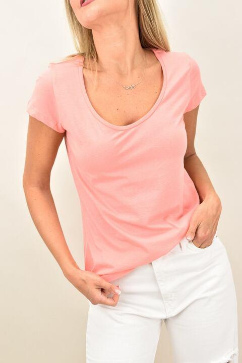 Γυναικεία μπλούζα με στρογγυλή ανοιχτή λαιμόκομψη - Κοραλί